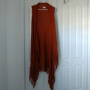 Umgee crochet rust long Boho sweater vest M/L